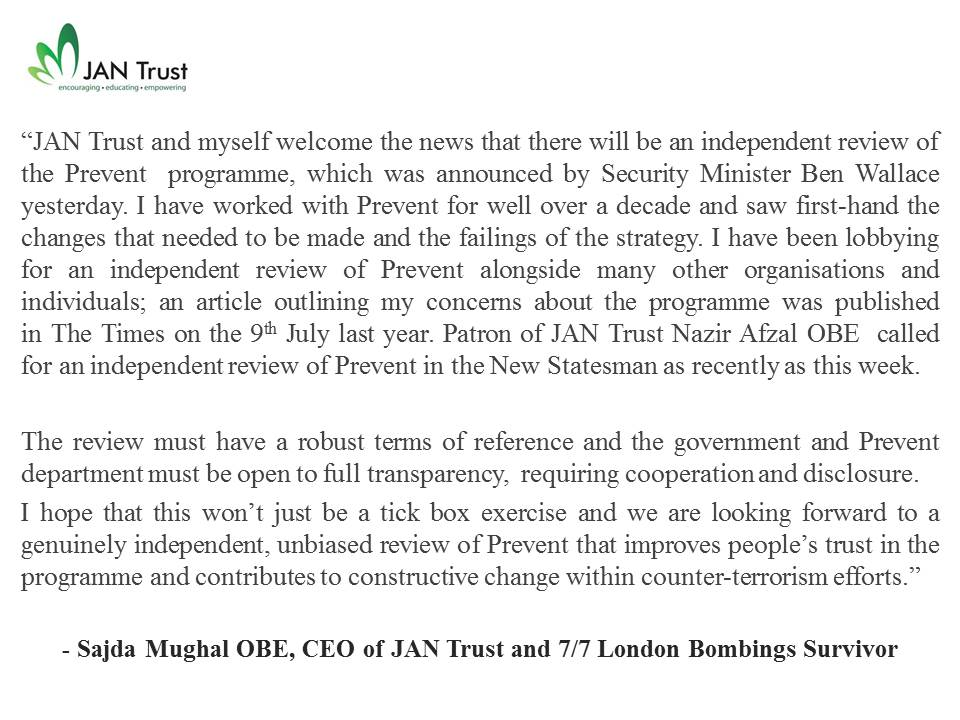JAN Trust CEO Sajda Mughal OBE makes statement on independent Prevent review