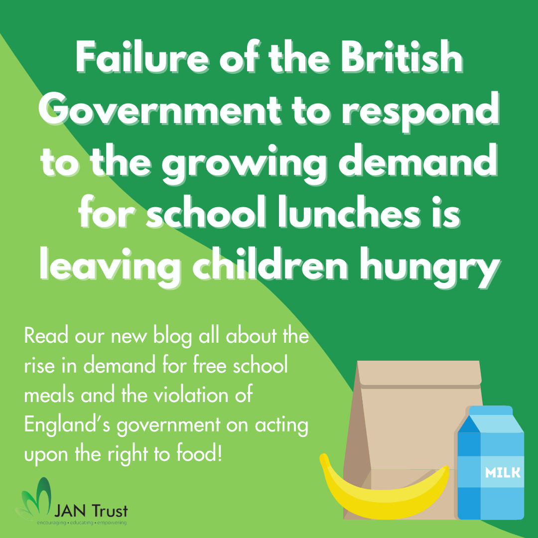 Failure of the British Government to respond to the growing demand for school lunches is leaving children hungry